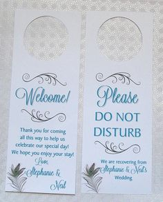 Hotel Door Hangers  PEACOCK Feather  Double Sided by paperpixie