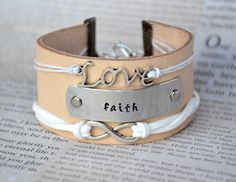 Hand Stamped Leather Cuff Bracelet Love Faith by KgDesignsJewelry