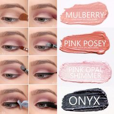 Step-by-step eyeshadow look using SeneGence ShadowSense colors in Pink Posey, Mulberry, Pink Opal Shimmer and Onyx. Smudge proof, waterproof, crease-proof, long-lasting eyeshadow. Cream to powder eyeshadow. Cruelty free makeup | Makeup look | Makeup how to | Makeup tutorial | long-lasting makeup | LipSense | LipSense distributor | www.lastinglipsbylindsay.com | Insta @ lastinglips_by_lindsay | Bella | Blackberry | Violet Volt | Candlelight | Sandstone Pearl Shimmer | Amethyst
