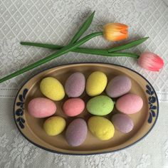 This vintage egg platter is the perfect way to serve eggs of any color on Easter!