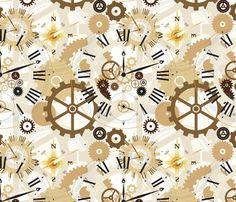 Steampunk Clockwork fabric by lainabug on Spoonflower - custom fabric