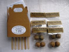 Mini herb garden seed bomb kit (READY TO SHIP)- Includes- 2 basil, 2 oregano, 2 parsley, 2 chives, 2 dill, and 2 cilantro- 12 seed bombs by PlantablesAndPaper on Etsy https://www.etsy.com/listing/114148797/mini-herb-garden-seed-bomb-kit-ready-to