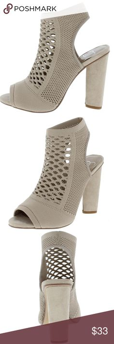 💕👠COMING SOON💕👠Grey knit peep toe block heels Pair this high fashion style with destroyed jeans, a t-shirt, and a bright jacket for a chic weekend look!  Features a perforated knit upper. A peep toe paired with a rear cut out. Single sole styling with an ankle high silhouette and block heel. Man made materials.   Approximate heel height  Approximate platform height Vinsons Shoes Heels
