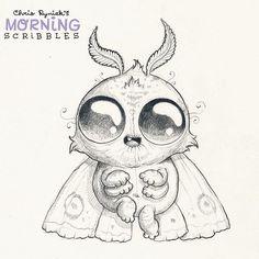 Fuzzy moth.  #morningscribbles by chrisryniak
