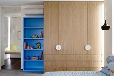 Bold colour and confident geometry define the  children's rooms. door handles