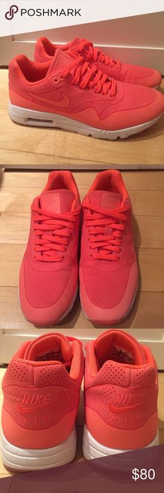 Nike Women's Air Max 1 Ultra Moire - Hot Lava sz 8 Nike women's sneakers - Air Max 1 Ultra Moire in awesome hot lava color. Size 8. Great condition, only worn a few times Nike Shoes Athletic Shoes