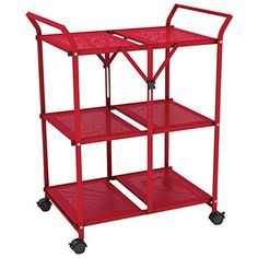 AmazonSmile: Folding Cart with Handle in Red: Health & Personal Care
