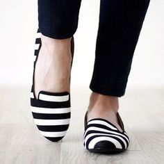 @meganjanegood Did you throw out your oh-so-comfy, but oh-so-sad black kitten heel pumps? You could spray them! DIY Striped Loafers