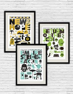 Star Wars Poster set minimalist movie print Original by handz - Modern Star Wars Nursery, Star Wars Room, Star Wars Decor, Baby Prints, Nursery Prints, Nursery Art, Nursery Ideas, Modern Nursery Decor, Movie Prints