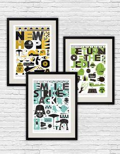 Star Wars poster, Star Wars Baby print,  Star Wars art - Original trilogy  poster set  of  3  A3. $55.00, via Etsy.