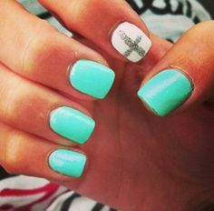 Mint and white. Very cool Nails! Creative and sexy. Will go with any outfit! #Nails #Beauty #Fashion