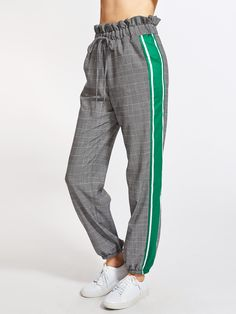 Pantalones con volante con raya lateral-Spanish SheIn(Sheinside)