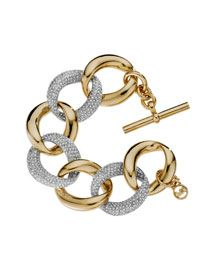 michael kors pave link bracelet. golden brass, white metal, and zinc casting. pave links adorned with clear crystal insets, & toggle closure with MK logo.