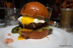 The Village Burger with Bacon and Fried Egg at Village Whiskey in Philadelphia, PA. (BurgerJunkies.com)
