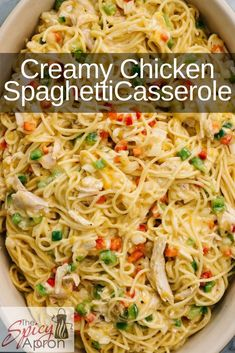 """This Chicken Spaghetti Casserole is the answer to """"what's for dinner?"""" Easy weeknight meal for those who want real comfort food or a casserole for a crowd. Eat right away or make ahead and freeze. dinner for a crowd Chicken Spaghetti Casserole Chicken Spaghetti Casserole, Chicken Spaghetti Recipes, Easy Chicken Recipes, Easy Dinner Recipes, Chicken Spaghetti With Rotel, Mexican Spaghetti, Spaghetti Dinner, Make Ahead Meals, Easy Weeknight Meals"""