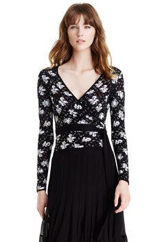 DVF Ballerina Embellished Floral Wrap Sweater in black/ natural multi