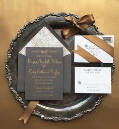 Romantic, Glamours and Chic Wedding Invitations by Charm & Fig. Gold Foil on Charcoal Gray.