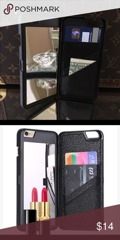 ✖️Brand New✖️ Wallet & Mirror Case Black The perfect iPhone case to store your cards and ID's!✨ Enclosed with a secret mirror! Holds Credit Cards, ID's and cash comfortably. Protects the back and sides of your phone. Available for iPhone 6/6S & 6/6S Plus in Black, Purple & Pink. It's cheaper on my Ⓜ️ account! Brand new! No Trade! Price is firm! Accessories Phone Cases