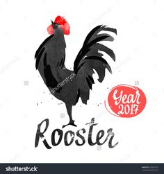Silhouette Of The Cock. Sketch Style. Watercolor Illustration With Black And White Roosters. Brush Drawings. Chinese New Year 2017. - 479923315 : Shutterstock