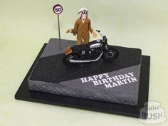 Get your motor running! This cake for Martin's birthday shows him ready to ride away on his Honda The bike was made in separate parts, glued together like a kit - all edible, of course! Honda Cb750, Custom Bikes, 50th Birthday, Separate, Kit, Running, Cake, 50th Anniversary, Pull Apart