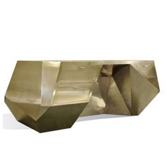 """This handmade desk is cladded completely with polished brass.  Finish on picture: Hand polished brass  Option: Protective Crystal Coating: A special """"Crystal Coating"""" which will prevent fingerprints and corrosion on brass can be applied at a 20% upcharge.  Size: W 76 x D 39.50 x H 29 inches"""