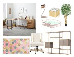"""Creative Office Space"" by jacquelinelynch on Polyvore featuring interior, interiors, interior design, home, home decor, interior decorating, ANNA by RabLabs, West Elm, Leitmotiv and U Brands"