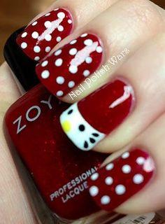 Red Nails White Dots Hello Kitty Free-Hand Nail Art