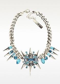 Philipp Plein  Pink is the New Black Studded Necklace. Pink Is The New Black Studded Necklace is crafted in silver tone brass with large cuban link chain. Featuring brilliant blue exploding crystals and studs centerpiece flanked by crystal and stud accents. Signature box included. http://www.eu.forzieri.com/necklaces/philipp-plein/hi290114-001-00