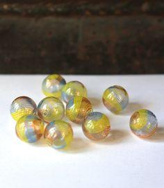 Hand blown hollow glass beads multicolour by allthatglittersbeads, $5.50