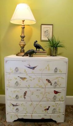 Many DIY enthusiasts find decoupage projects are enjoyable on top of budget-friendly. The decoupage projects are an easy method to give a fresh look to your old furniture. The result of decoupage furn Decoupage Furniture, Hand Painted Furniture, Paint Furniture, Repurposed Furniture, Furniture Projects, Furniture Making, Furniture Makeover, Home Projects, Decoupage Ideas