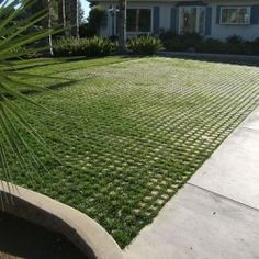 "Drivable Grass Concrete Paving System: ""Drivable Grass is a paving product that is designed to be used in place of concrete or asphalt driveways, patios, and parking areas for cars, RVs and boats."" Super-Sod sells Drivable Grass in the Southeast. Permeable Driveway, Asphalt Driveway, Driveways, Grass Pavers, Concrete Paving, Concrete Blocks, Modern Driveway, Driveway Design, Driveway Ideas"