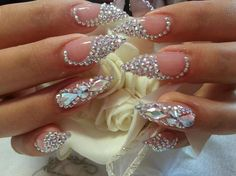 Rhinestone Stiletto nails these are pretty! I love the swirl on the nails Sexy Nails, Hot Nails, Fancy Nails, Hair And Nails, Classy Nails, Rhinestone Nails, Bling Nails, Stiletto Nails, Rhinestone Nail Designs