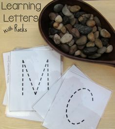 Simple preschool letter recognition practice using rocks! A fun learning activity that teaches kids letter recognition and letter formation using loose parts for nature! Includes a free printable! Preschool Letters, Learning Letters, Kindergarten Literacy, Early Literacy, Preschool Dinosaur, Alphabet Activities, Language Activities, Literacy Activities, Teaching Resources
