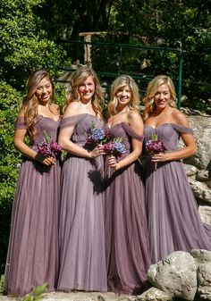 Ultra romantic off the shoulder purple bridesmaid dresses from @shoprevelry