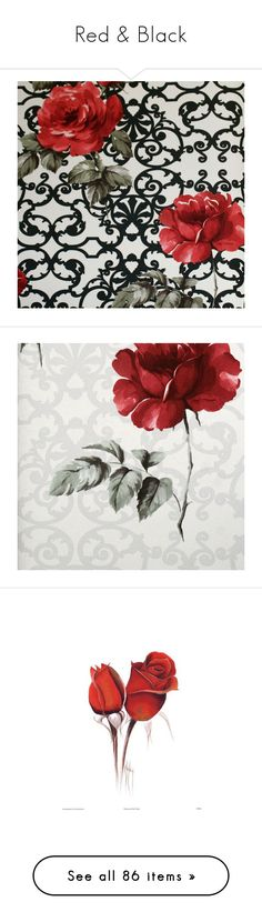 """""""Red & Black"""" by trena-johnson ❤ liked on Polyvore featuring home, home decor, wallpaper, backgrounds, fillers, red, flowers, borders, picture frame and pattern wallpaper"""