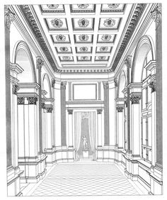 Art Painting For Home Decoration Architecture Baroque, Architecture Mapping, Architecture Concept Drawings, Classic Architecture, Historical Architecture, Architecture Details, Interior Architecture, Classic Interior, Modern Interior Design