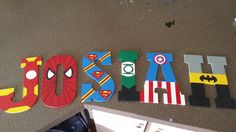 10.5 in hand painted super hero wooden letters, to your design by LittleLetterCreation on Etsy https://www.etsy.com/listing/184440724/105-in-hand-painted-super-hero-wooden