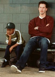 """Keanu Reeves in """"Hard Ball"""" 2001 with my favorite character in the movie!"""