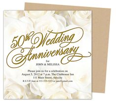 50th Wedding Anniverary Invitations : Roses Gold 50th Wedding Anniversary Party Invitation Template
