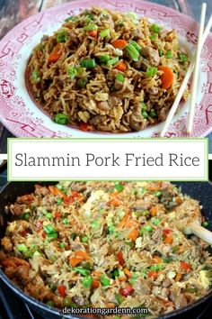 Fried Rice Super easy pork fried rice ready in just 45 minutes - perfect for an easy weeknight meal!Super easy pork fried rice ready in just 45 minutes - perfect for an easy weeknight meal! Pork Casserole Recipes, Rice Recipes, Pork Recipes, Asian Recipes, Cooking Recipes, Chinese Recipes, Yummy Recipes, Pork Fried Rice Easy, Making Fried Rice
