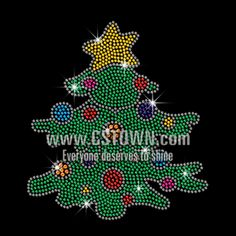 Cute Christmas Tree Iron on Rhinestone Transfer Decal