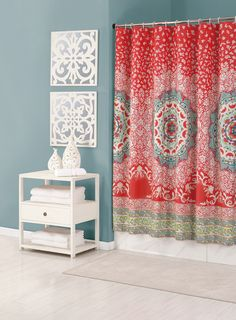 Shower curtain from the Jessica Simpson Bath Collection.  #AprilShowers
