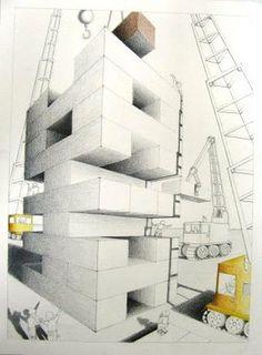 2-Point perspective project. Vrije onderwerp keuze