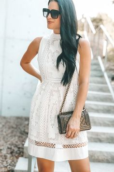 4d3fa4ef3c DTKAustin shares one of her favorite white lace dresses from Chicwish with  tips on how to