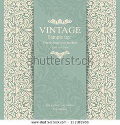 Invitation cards in an vintage-style green  by Nataliia Litovchenko, via Shutterstock