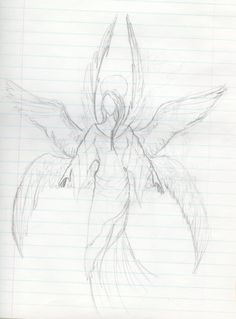 Six-Winged Angel by Amazing Sketches, Cool Sketches, Wings Sketch, Seraph Angel, Angel Drawing, Angels Among Us, Pencil Art, Drawing Reference, Journaling