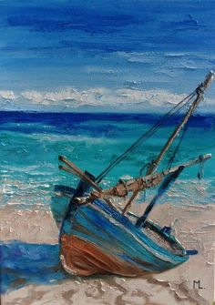 Monika Luniak – Paintings for Sale - Malerei Landscape Art, Landscape Paintings, Desert Landscape, Summer Landscape, Sailboat Painting, Boat Art, Seascape Paintings, Art Paintings, Art Abstrait