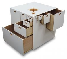 Fractal 23 by Takeshi Miyakawa is a modular drawer system that features drawers on all four sides. Made of plywood, the cube measures a petite x x could be used as a side table, provided it's on a carousel so there's access to all those drawers. Small Space Living, Small Spaces, Piet Mondrian, Cool Furniture, Furniture Design, Multifunctional Furniture, Cube Storage, Minimalist Design, Fractals