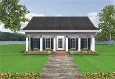 This house plan has an open floor plan with a covered porch and patio.  It's simple design is functional and inviting. Roof pitch changes from 4/12 for the porch, to 7/12 for the main building.