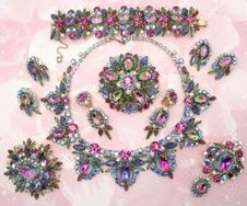 WOW What a Beauty this DeLizza & Elster Heliotrope grand Parure is - I have the bracelet in my Ruby Lane store